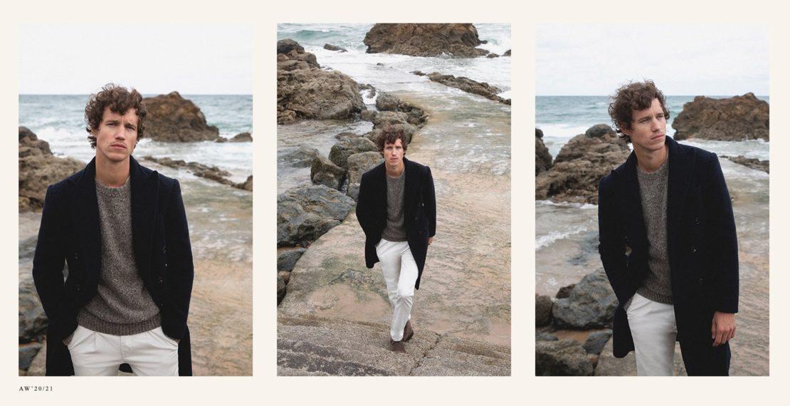 Imagen editorial de Otoño/Invierno 2020/2021 donde aparece el pantalón blanco off-white en tendencia de la marca Scalpers